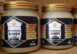 2 soft set honey jars showing buckinghamshire honey labels