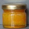 Crystallised ginger and turmeric infused natural set honey sample jar