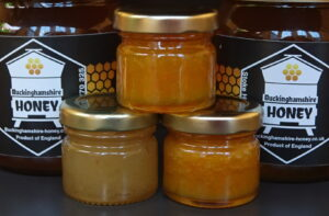 Our taster range of infused honeys containing home-made crystallised ginger and turmeric